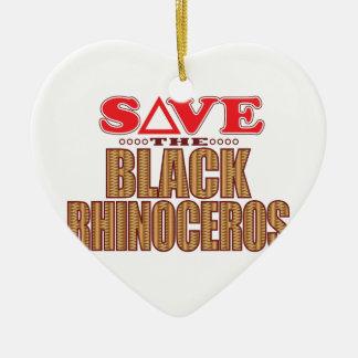 Black Rhino Save Christmas Ornament