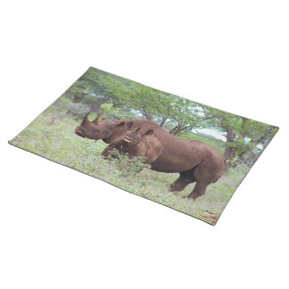 Black Rhino with Calf Placemat