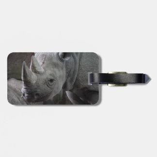 Black Rhinoceros Photo Luggage Tag