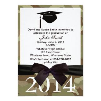 Black  Ribbon And Camouflage Graduation Invitation