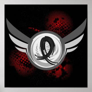 Black Ribbon And Wings Melanoma Poster