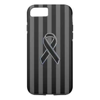 Black Ribbon Awareness on Vertical Stripes iPhone 7 Case