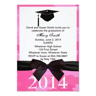 Black  Ribbon Pink Camouflage Graduation Invite