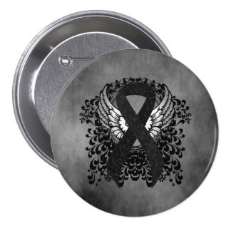 Black Ribbon with Wings Pinback Buttons