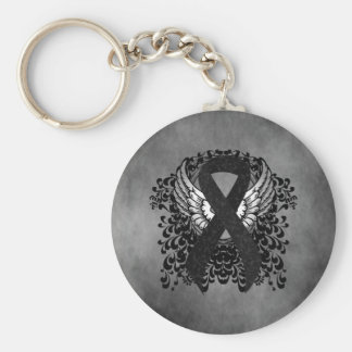 Black Ribbon with Wings Basic Round Button Key Ring
