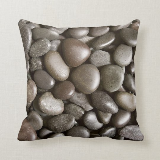 Black River Rock Nature Zen Pebble Cushion