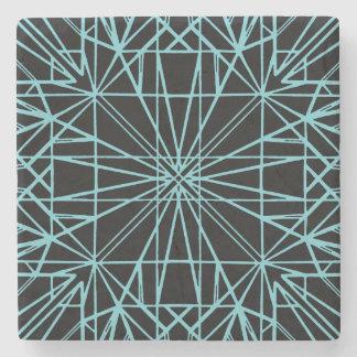 Black & Robin Egg Blue Geometric Symmetry Stone Coaster