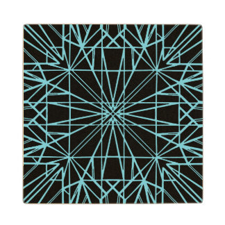 Black & Robin Egg Blue Geometric Symmetry Wood Coaster
