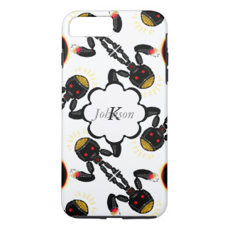 Black Robot with Glowing Brain Pattern iPhone 7 Plus Case
