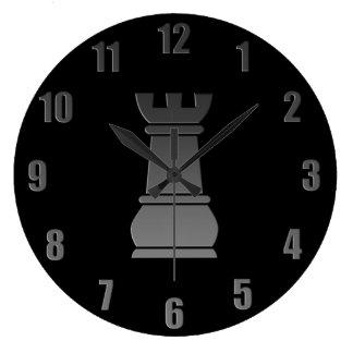 Black rock chess piece large clock
