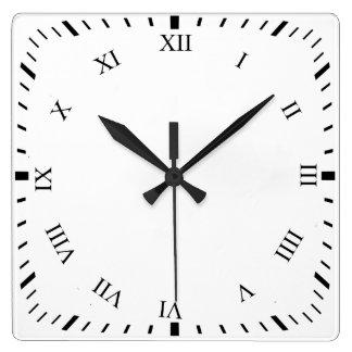 Black Roman Numbers Square Clock Add Photo