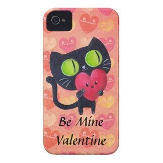 Black Romantic Cat iPhone 4 Case