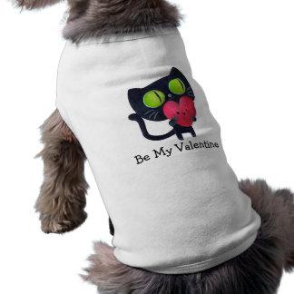 Black Romantic Cat Sleeveless Dog Shirt