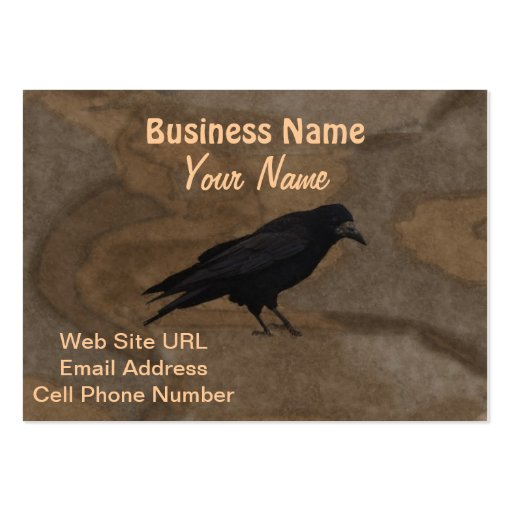 Black Rook British Corvid and Rustic Background Business Cards