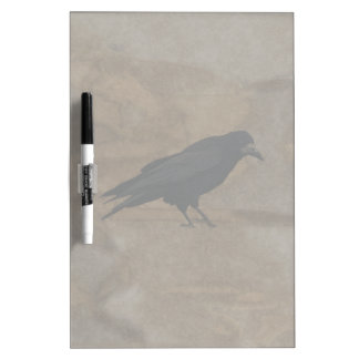Black Rook British Corvid and Rustic Background Dry Erase Whiteboard