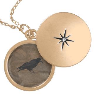 Black Rook British Corvid and Rustic Background Round Locket Necklace