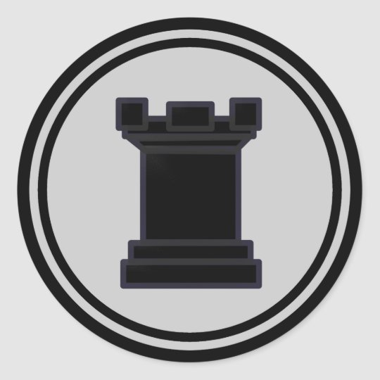 Black Rook Chess Piece Classic Round Sticker