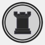 Black Rook Chess Piece Round Stickers