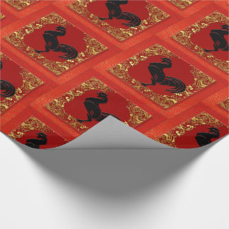 Black Rooster Chinese Zodiac Animal Red and Gold Wrapping Paper