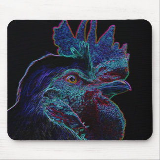 black rooster mouse mat