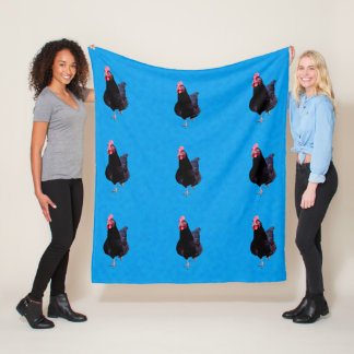 Black Rooster On Blue Background, Fleece Blanket
