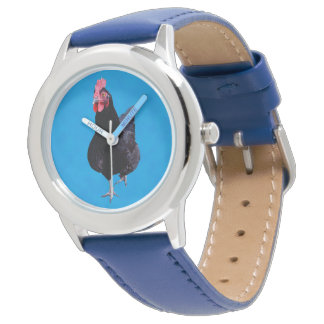 Black Rooster On Blue Background, Kids Leather Watch