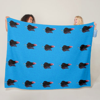 Black Rooster On Blue Background, Large Fleece Blanket