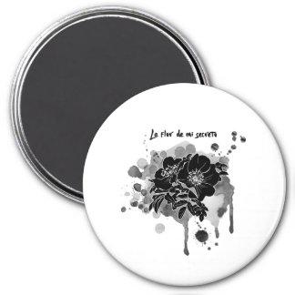 Black rose 3 Inch Round Magnet