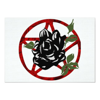 Black Rose and Pentagram 13 Cm X 18 Cm Invitation Card