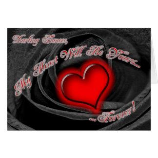 Black Rose Fiancee Valentines Card