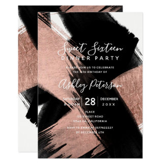 Black rose gold brushstrokes typography Sweet 16 Card