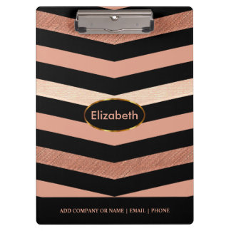 Black & Rose Gold Chevron Design Clipboards