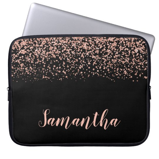 Black Rose Gold Faux Glitter Personalised Laptop Sleeve
