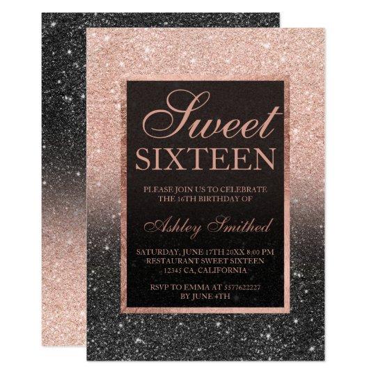 Black rose gold glitter elegant chic Sweet 16 Card
