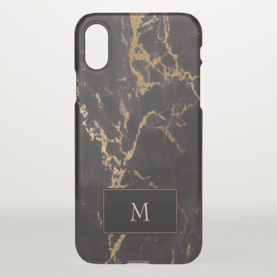 Black Rose Gold Marble Stone iPhone X Case
