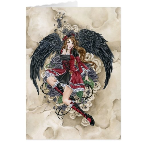 Black Rose gothic angel card by Meredith Dillman