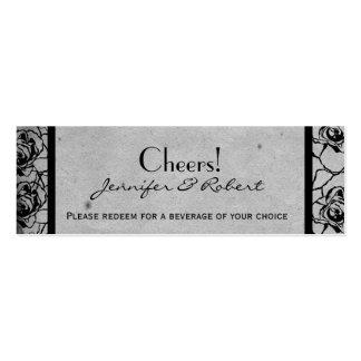 Black Rose Gothic Frame Wedding Drink Ticket Business Card Template