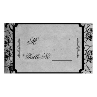 Black Rose Gothic Frame Wedding Place Card Business Card Template