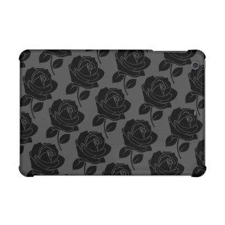 Black Rose Horizontal Pattern on Grey