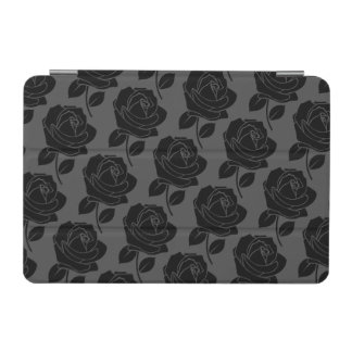 Black Rose Horizontal Pattern on Grey iPad Mini Cover