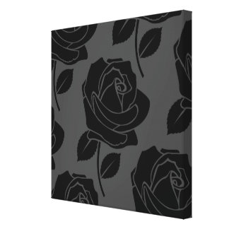 Black Rose Large Pattern on Grey Canvas Print