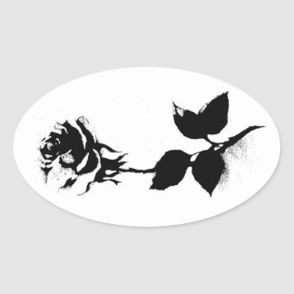Black Rose Oval Sticker