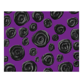 Black Rose Pattern on Dark Purple. 11.5 Cm X 14 Cm Flyer