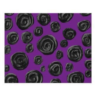 Black Rose Pattern on Dark Purple. Personalized Flyer