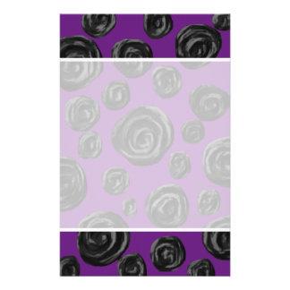 Black Rose Pattern on Dark Purple Personalized Flyer