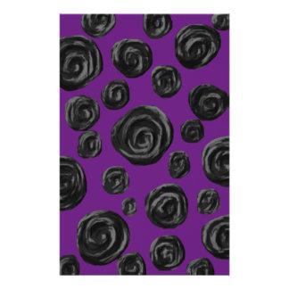 Black Rose Pattern on Dark Purple. Custom Flyer