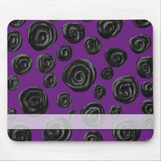 Black Rose Pattern on Dark Purple. Mouse Pads