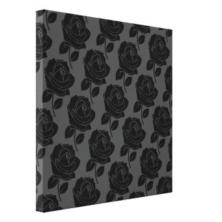 Black Rose Pattern on Grey Stretched Canvas Print