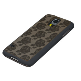Black Rose Pattern on Grey Carved Maple Galaxy S5 Case