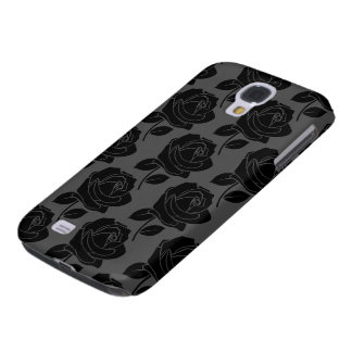 Black Rose Pattern on Grey Galaxy S4 Case